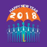 Creative happy new year 2018 poster design. Team under umbrella Stock Image