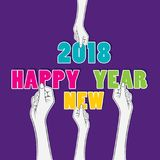 Creative happy new year 2018 poster design using brush. Creative happy new year 2018 poster design by hold in hand vector illustration