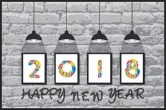 Creative happy new year 2018 poster design using brush Stock Photos