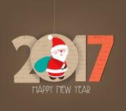 Creative happy new year 2017 santa claus design.  Royalty Free Stock Photo