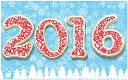 Creative happy new year 2016 in shape of gingerbread design. Year number as cookies on snowflakes background. Stock Photos