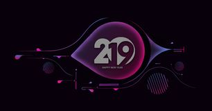 Creative Happy New Year 2019 Text on Abstract modern dynamic background stock image