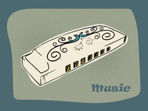 Creative harmonica for Music concept. Stock Image