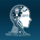 Creative head abstract circuit technology infograp. Hic Stock Photography