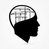 Creative head with crane. Under construction background Royalty Free Stock Images