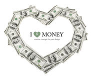 Creative heart frame made of dollars money. On white background Stock Photo