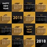 New year 2018 calendar design. Creative heart shape new year 2018 calendar 2018 template design Royalty Free Stock Images