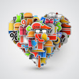 Creative heart sign made of shopping items. Vector Royalty Free Stock Photo