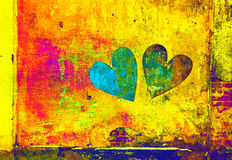 Creative hearts. Double exposure, bright multi-colored background Royalty Free Stock Photography