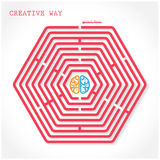 Creative hexagon maze way concept Stock Image