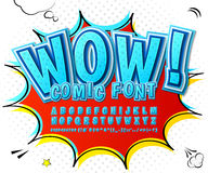 Creative high detail blue comic font. Alphabet Royalty Free Stock Images