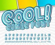 Creative high detail blue comic font. Alphabet Stock Photo