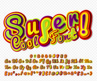 Creative high detail colorful comic font. Alphabet Royalty Free Stock Photo