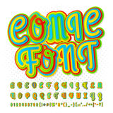 Creative high detail comic font. Alphabet, comics Royalty Free Stock Image