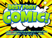 Creative high detail comic font. Alphabet of comics, pop art. Letters and figures for decoration of kids` illustrations, websites, posters, comics and banners Royalty Free Stock Photo