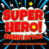 Creative high detail comic font. Alphabet of comics, pop art. Letters and figures for decoration of kids` illustrations, websites, posters, comics and banners Stock Photos