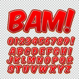 Creative high detail comic font. Alphabet of comics, pop art. Letters and figures for decoration of kids` illustrations, websites, posters, comics and banners Royalty Free Stock Image