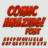Creative high detail comic font. Alphabet of comics, pop art. Letters and figures for decoration of kids` illustrations, websites, posters, comics and banners Stock Images