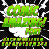 Creative high detail comic font. Alphabet of comics, pop art. Letters and figures for decoration of kids` illustrations, websites, posters, comics and banners stock illustration