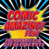 Creative high detail comic font. Alphabet of comics, pop art. Royalty Free Stock Photos