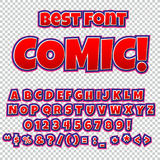 Creative high detail comic font. Alphabet of comics, pop art. Letters and figures for decoration of kids Royalty Free Stock Photos