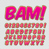 Creative high detail comic font. Alphabet of comics, pop art. Letters and figures for decoration of kids Stock Photo