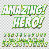 Creative high detail comic font. Alphabet of comics, pop art. Letters and figures for decoration of kids. ` illustrations, websites, posters, comics and banners Royalty Free Stock Images