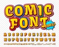 Creative high detail comic font. Alphabet, comics, pop art. Stock Images