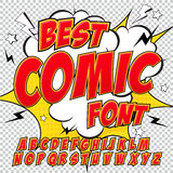 Creative high detail comic font. Alphabet in the red style of comics, pop art. Letters and figures for decoration of kids' illustrations, websites, posters Stock Photography