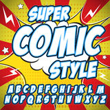 Creative high detail comic font. Alphabet in the style of comics, pop art. Letters and figures for decoration of kids Stock Image