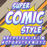Creative high detail comic font. Alphabet in the style of comics, pop art. Letters and figures for decoration Royalty Free Stock Photography