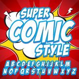 Creative high detail comic font. Alphabet in style of comics, pop art. Letters and figures for decoration of kids. Creative high detail comic font. Alphabet in Royalty Free Stock Image