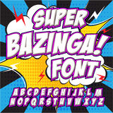 Creative high detail comic font. Alphabet in the style of comics, pop art. Letters and figures for decoration of kids' illustrations, websites, posters, comics Stock Photography