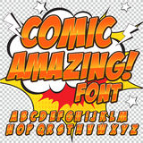 Creative high detail comic font. Alphabet in the style of comics, pop art. Letters and figures for decoration of kids. ' illustrations, comics and banners. Easy Stock Image