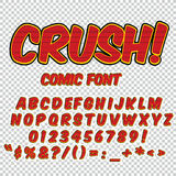 Creative high detail comic font. Alphabet in style of comics, pop art. Letters and figures for decoration of kids. Creative high detail comic font. Alphabet of Royalty Free Stock Photography