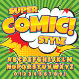 Creative high detail comic font. Alphabet in the style of comics, pop art. Letters and figures for decoration of kids' illustrations, websites, posters, comics Stock Photos