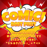 Creative high detail comic font. Alphabet in the style of comics, pop art. Letters and figures for decoration of kids. ' illustrations, comics and banners. Easy vector illustration