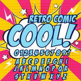 Creative High Detail Comic Font. Blue Color Hero Style Of Comics, Pop Art. Letters And Figures For Decoration Stock Photography