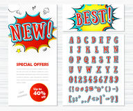 Creative high detail comic font, templates banners Stock Images