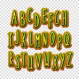 Creative high detail font. The alphabet in the style of comics. Graphics pop - art on transparent background. Hand-drawn stylish slim letters. Bright cartoon Royalty Free Stock Photography