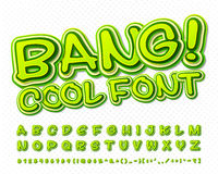 Creative high detail green comic font. Alphabet Stock Image