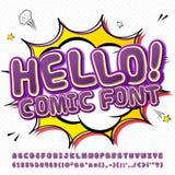 Creative high detail purple comic fontn. Alphabet Stock Photos