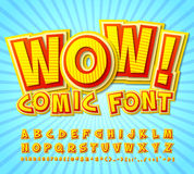 Creative high detail yellow-red comic font Stock Photos