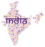 Creative Hindi alphabet texture background. Creative Hindi alphabet texture on an India county map silhouette royalty free stock photos