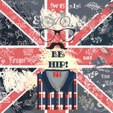 Creative hipster background with hand sketched doodles. Bike glasses mustache  and other hipster things on a grunge British flag Stock Image