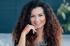 Creative hobby female artist beautiful face paint stock photos