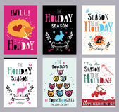 Creative holiday cards, illustrations and prints. Theme hand print cards: holidays, New year, birthday Royalty Free Stock Photography