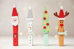 Creative holiday clothespins stock photography