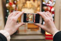 Creative holiday photo of christmas shop Stock Image