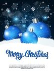 Creative Holiday Poster Merry Christmas Greeting Over Blue Decoration Balls Banner With Copy Space Royalty Free Stock Photo